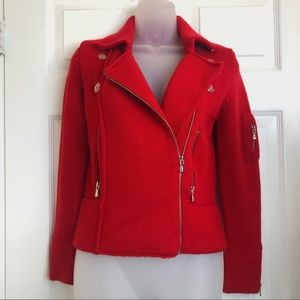 One girl who red sweater jacket knit size small